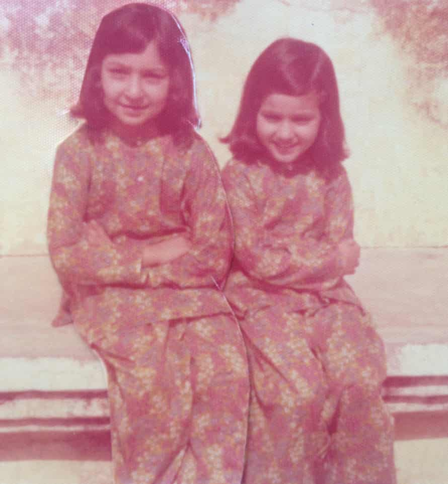 Fauzia (left), aged seven, and Arifa, aged four, at their grandparents' house in Lahore, Pakistan, 1976.