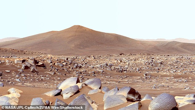 NASA's Perseverance Mars rover used its dual-camera Mastcam-Z imager to capture this image of 'Santa Cruz' a hill about 1.5 miles (2.5 kilometers) away from the rover