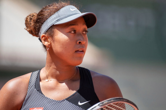 Naomi Osaka of Japan during her match against Patricia Maria Tig of Romania in the first round of the Women's Singles competition on Court Philippe-Chatrier at the 2021 French Open Tennis Tournament at Roland Garros on May 30th 2021 in Paris, France