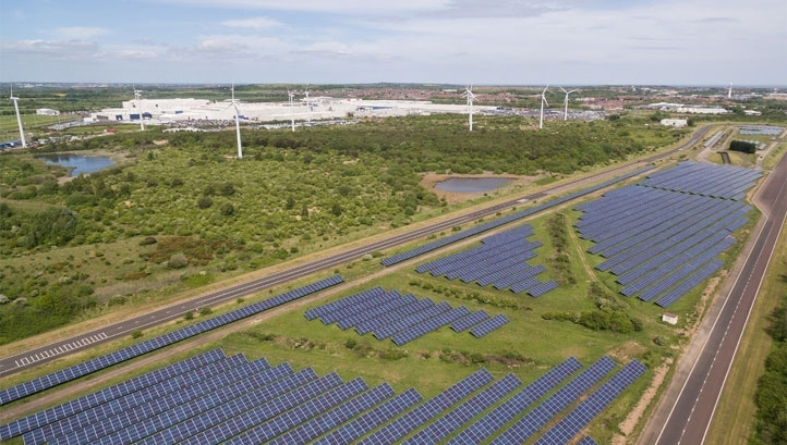 Pictured: An artist's impression of the proposed solar farm. Image: Nissan Motor Corporation Great Britain
