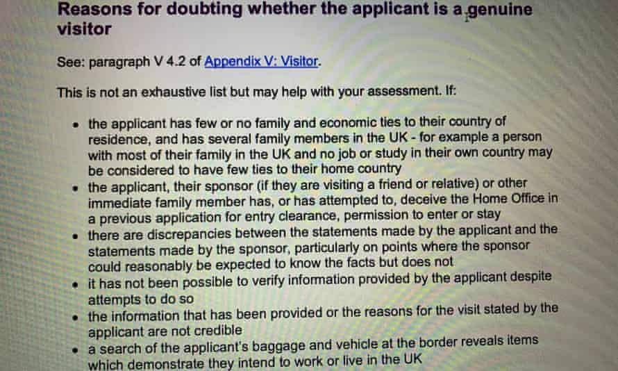 Guidelines for border officials on assessing the reasons for entry to the UK by a visitor.