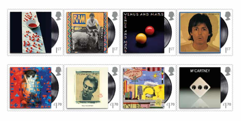 Eight of the stamp designs, depicting solo and Wings album covers.