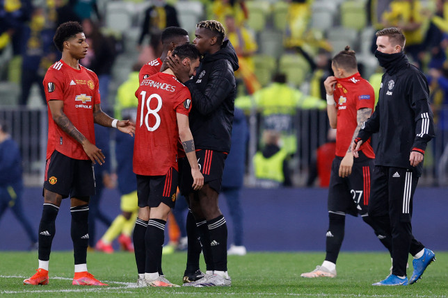 Marcus Rashford, Bruno Fernandes, Paul Pogba and Dean Henderson look on after Manchester United's Europa League final defeat to Villarreal