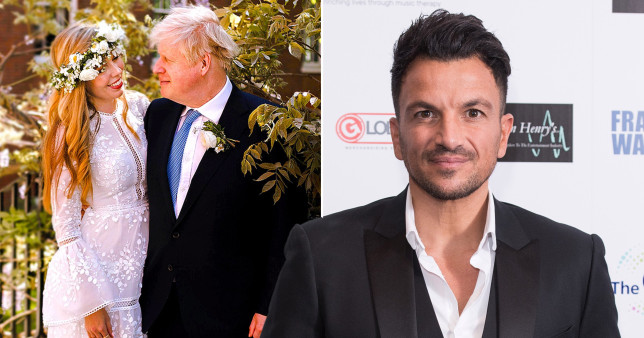 Peter Andre with Boris Johnson and Carrie Symonds wedding photo