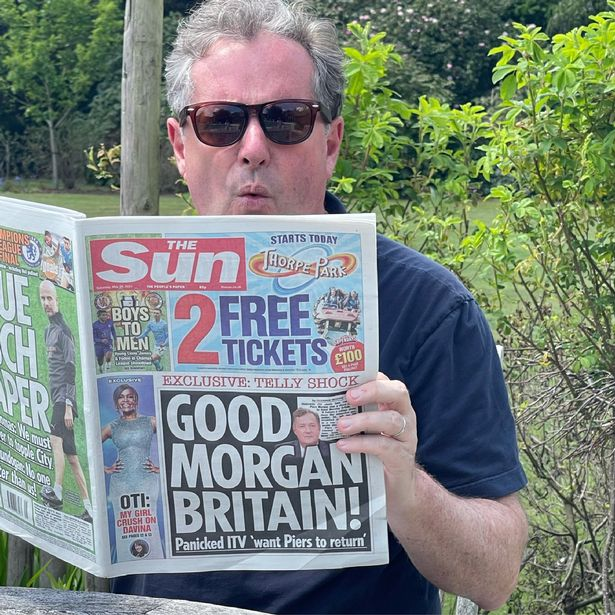 Piers Morgan is looking smug about the morning's headlines