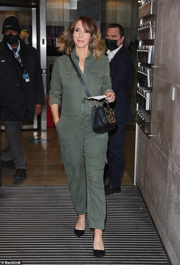 Wow:Alex Jones looked radiant as she displayed her baby bump while leaving her The One Show hosting duties on Thursday