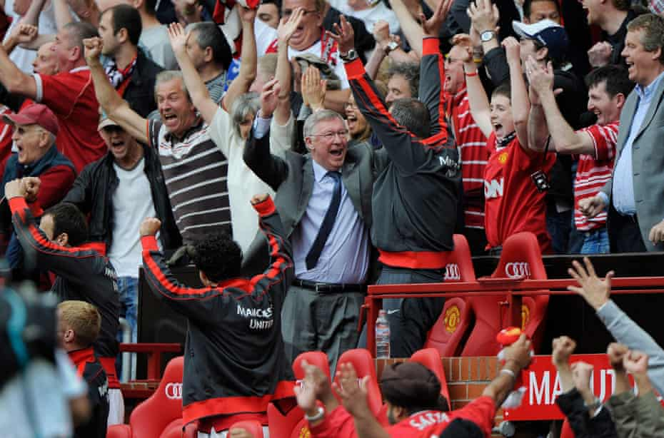 Sir Alex Ferguson celebrates a victory against Chelsea in 2011.