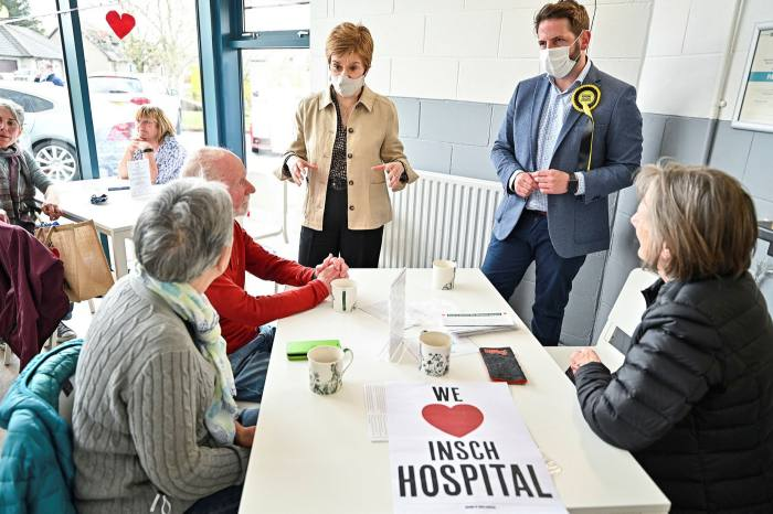 Nicola Sturgeon at a leisure centre in Aberdeenshire in April