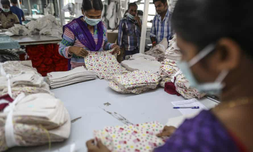 Employees at a garment factory in Tiruppur, Tamil Nadu, India.