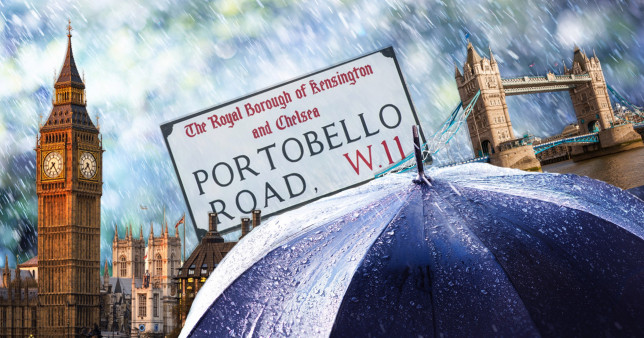 London landmarks with an umbrella in the forefront