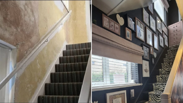 hallway staircase before and after