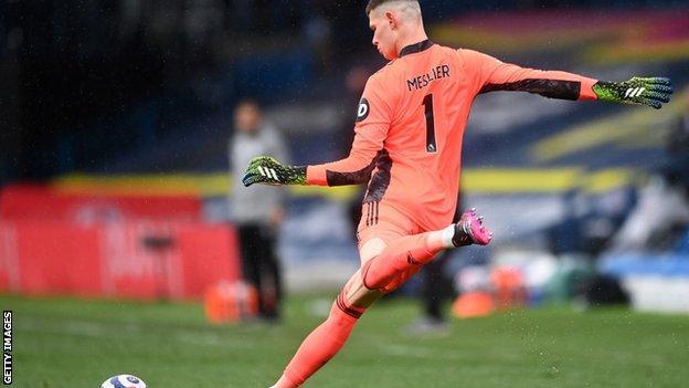 Leeds goalkeeper Illan Meslier takes a kick