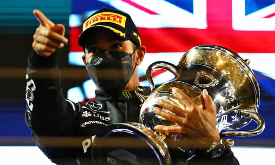 Lewis Hamilton on the podium after winning the Bahrain Grand Prix.
