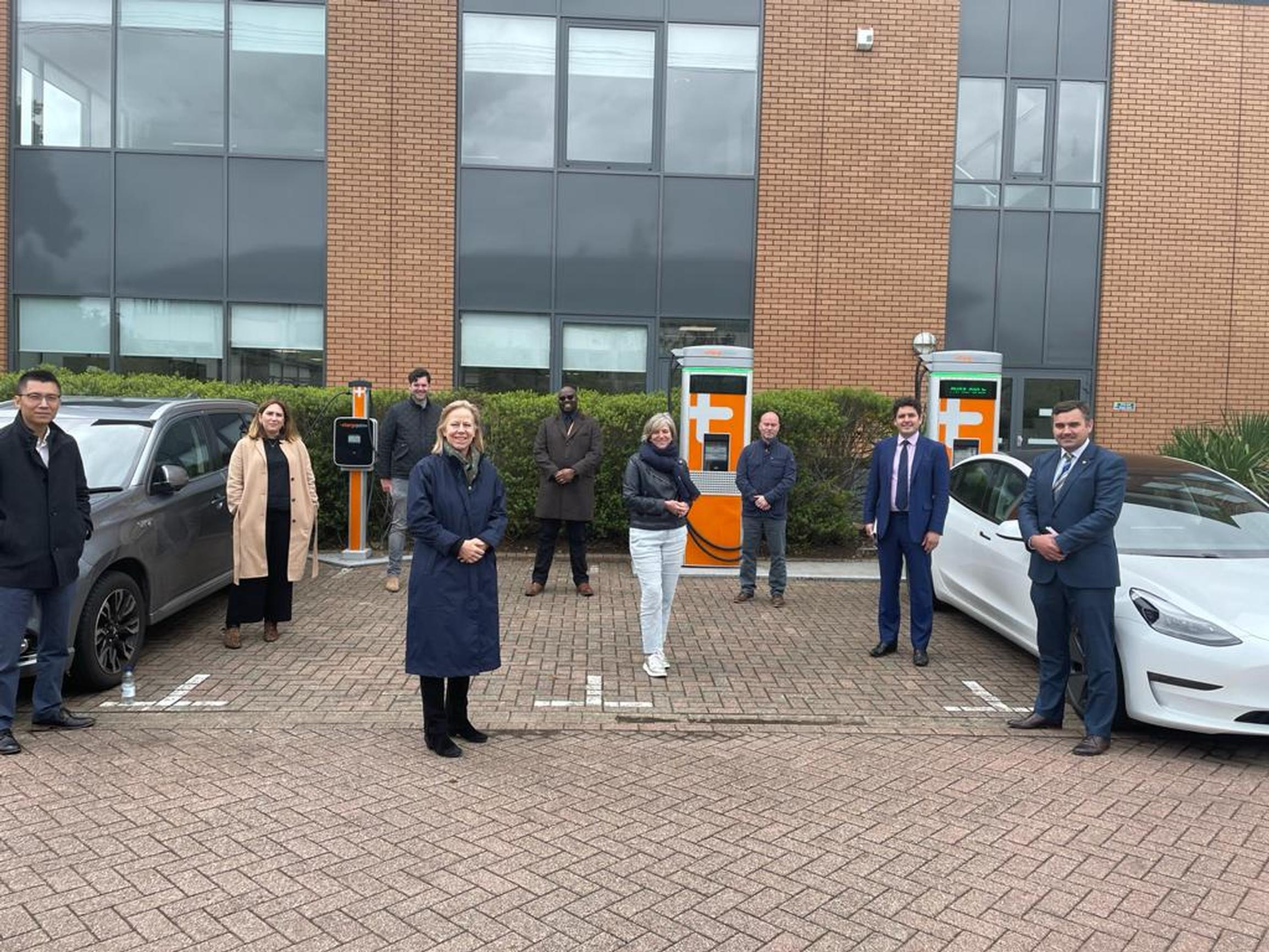 Members of the Transport Committee inspecting EV charging facilities in Reading on 20 May