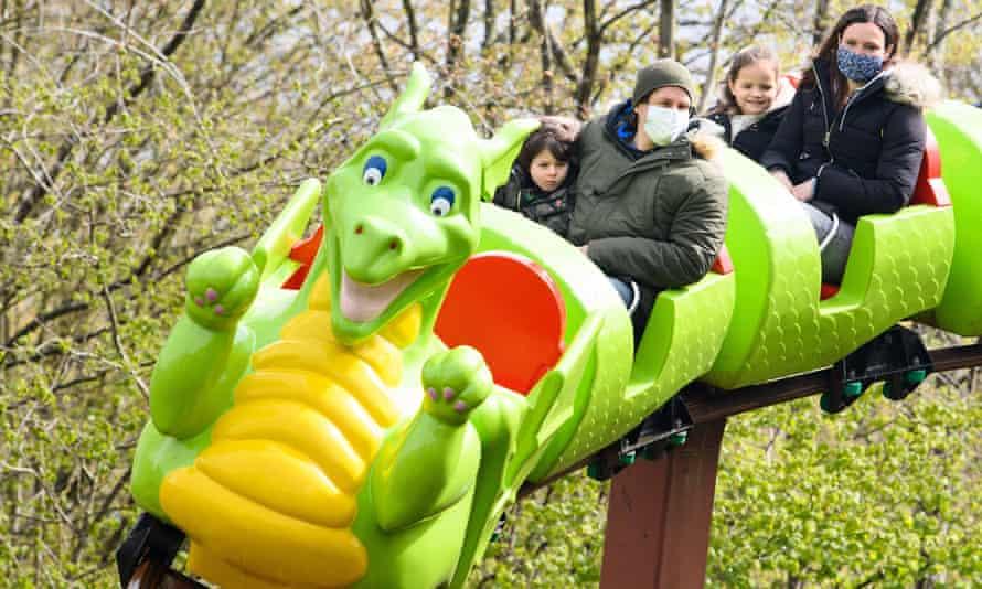 People enjoy a ride at Legoland Windsor.