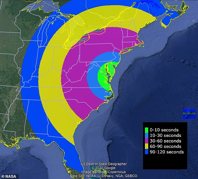 The glowing green will be visible in parts of Florida, Illinois, New Jersey, all of New England and a few other states that sit close to the Atlantic Ocean - but will only last up to 120 seconds in certain regions.