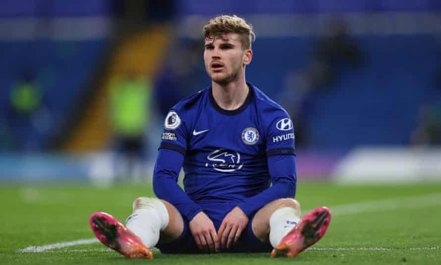 Timo Werner reacts during Chelsea's win over Leicester