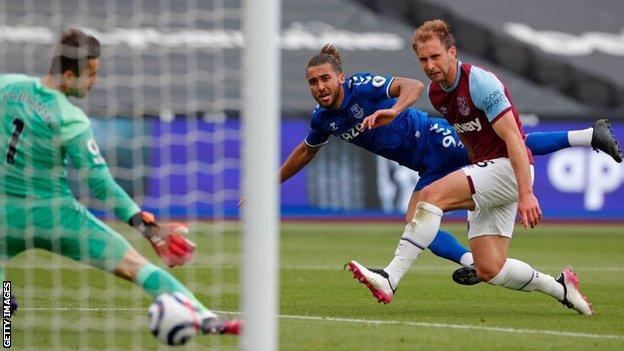 Dominic Calvert-Lewin scores against West Ham