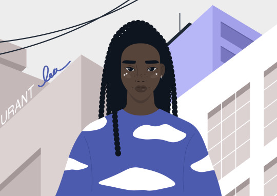 Gen z lifestyle portrait, a young female Black character wearing a long sleeve with a cloud pattern, urban life, and youth subcultures