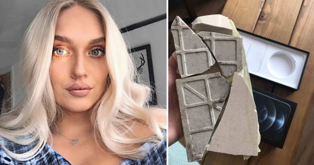 Olivia Parkinson ordered a brand new iPhone and got a broken kitchen tile instead (Twitter)