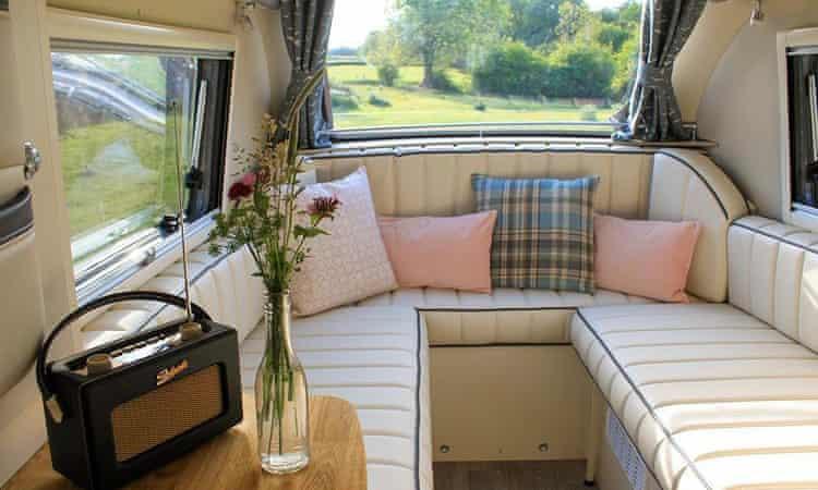 Inside a Barefoot caravan.