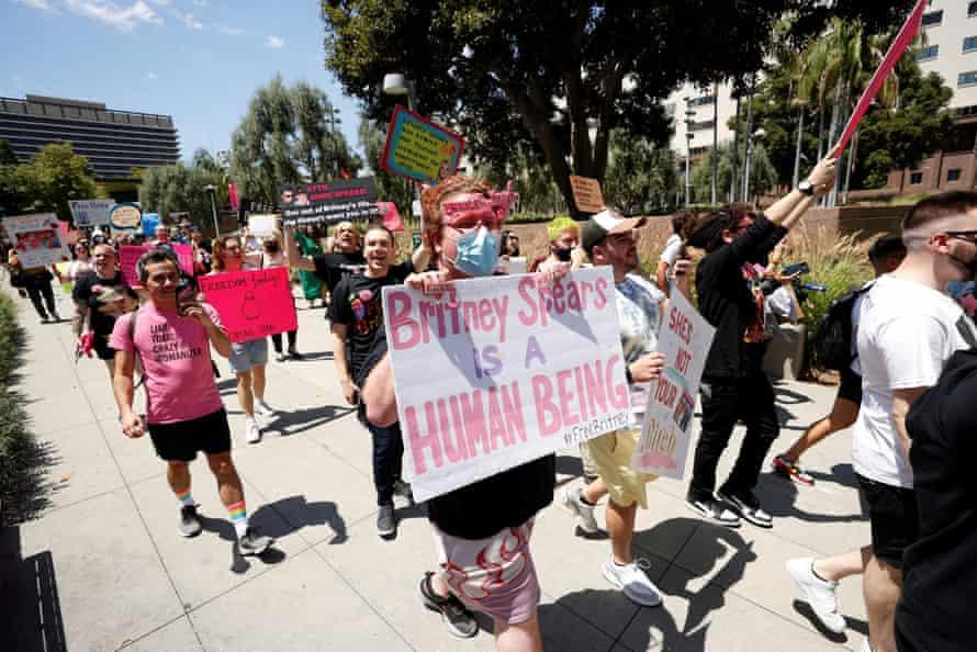 People rally in support of pop star Britney Spears on the day of a conservatorship case hearing in Los Angeles.