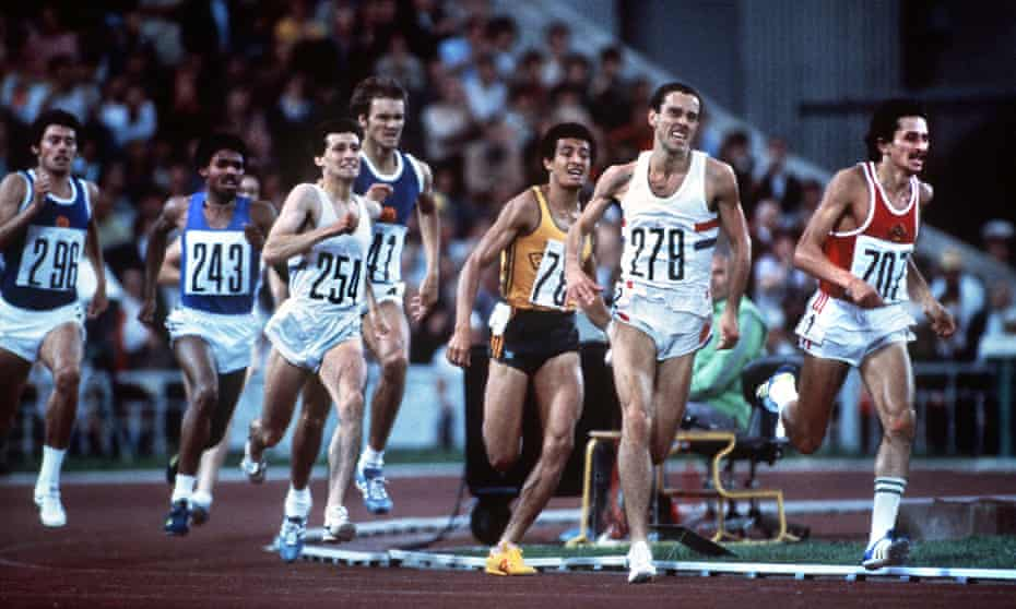 Sebastian Coe tries to keep up as Steve Ovett makes his break on the final bend, on his way to winning the 800m final at the 1980 Olympics.