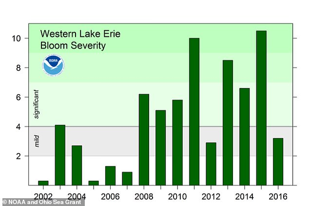 The Bloom Severity Index put forth byNational Oceanic and Atmospheric Administration, showing how bad the algae bloom has gotten in the lake