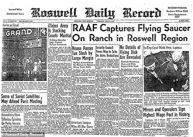 The local paper's front page story reported that the Roswell Army field recovered a flying saucer on a New Mexico Ranch after metallic-looking, light but strong material was scattered across the land. 'The intelligence office of the 509th Bombardment Group at Roswell Army Air Field announced at noon today, that the field has come into the possession of a Flying Saucer,' Roswell Daily Record reported on July 8, 1947