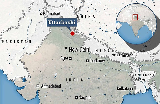 The town of Uttarkashi lies on the banks of the river Bhagirathi in Uttrakhand state, northern India