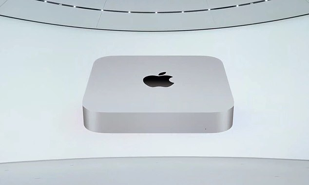 In November, Apple revealed its first lineup of Mac computers - MacBook Air, MacBook Pro and Mac Mini - to feature its in-house-designed M1 computer chip. Pictured,Mac Mini