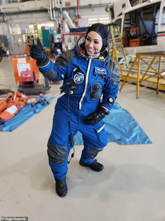 Gerardi has flown multiple times on the so called 'vomit comet' that provides a few seconds of low gravity on an aeroplane by flying a rollercoaster like flight profile, but told MailOnline 'she has never vomited' and can't wait to go up into space