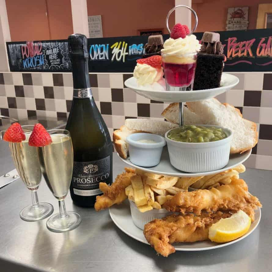 Fish and chips, prosecco, tea and cake at Surfside, Seaton Carew