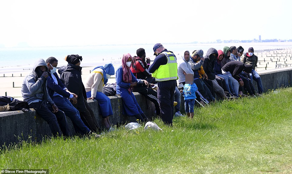 Separately, a group of 19 migrants including a toddler and a baby landed on the beach at Dymchurch in Kent today
