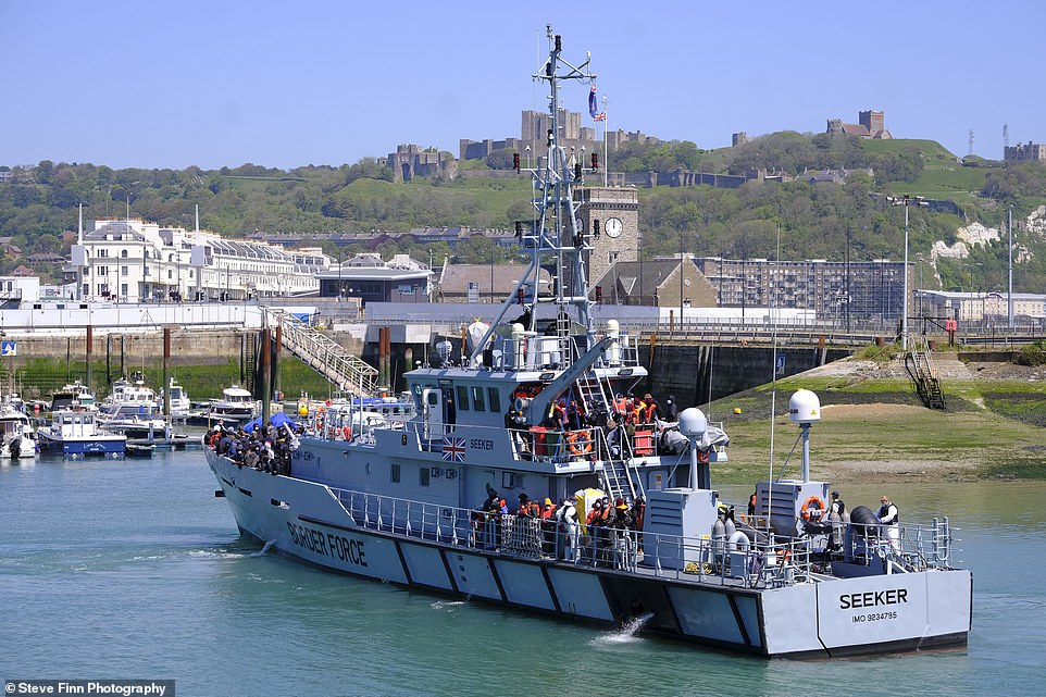 TUESDAY - Some 132 people were brought in to Dover Marina aboard a Border Force cutter around noon on Tuesday