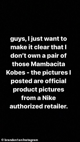 'I don't own a pair': One Instagram user who posted photos of the shoes in mid-May addressed the controversy on his Stories on Thursday