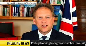 Grant Shapps revealed Portugal was to be removed from the 'green' list