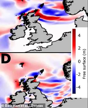 Pictured: a tsunami wave map showing the distribution of the first (top) and second (bottom) waves to hit the British coastline