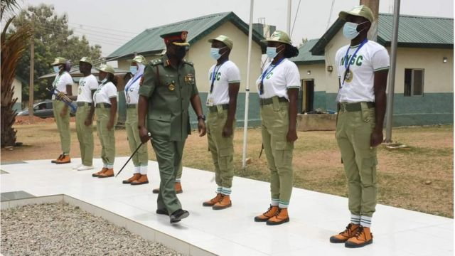 NYSC Director-General, Brigadier General Shuaibu Ibrahim visits the 2021 Batch 'A' Stream One Corps Members at FCT Orientation Camp in Kubwa Abuja today.
