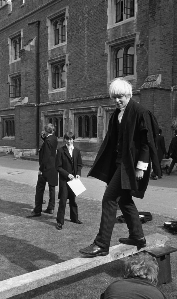 Boris Johnson in a pillow fight at Eton School, 1979