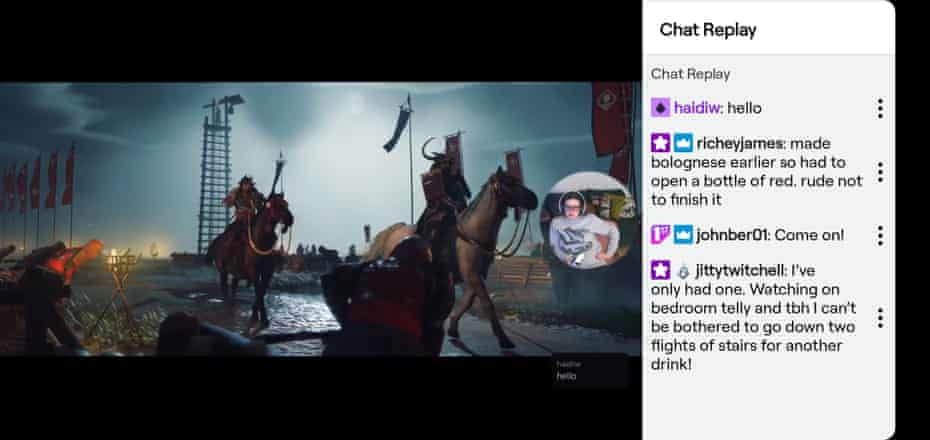Chat replay on Twitch.