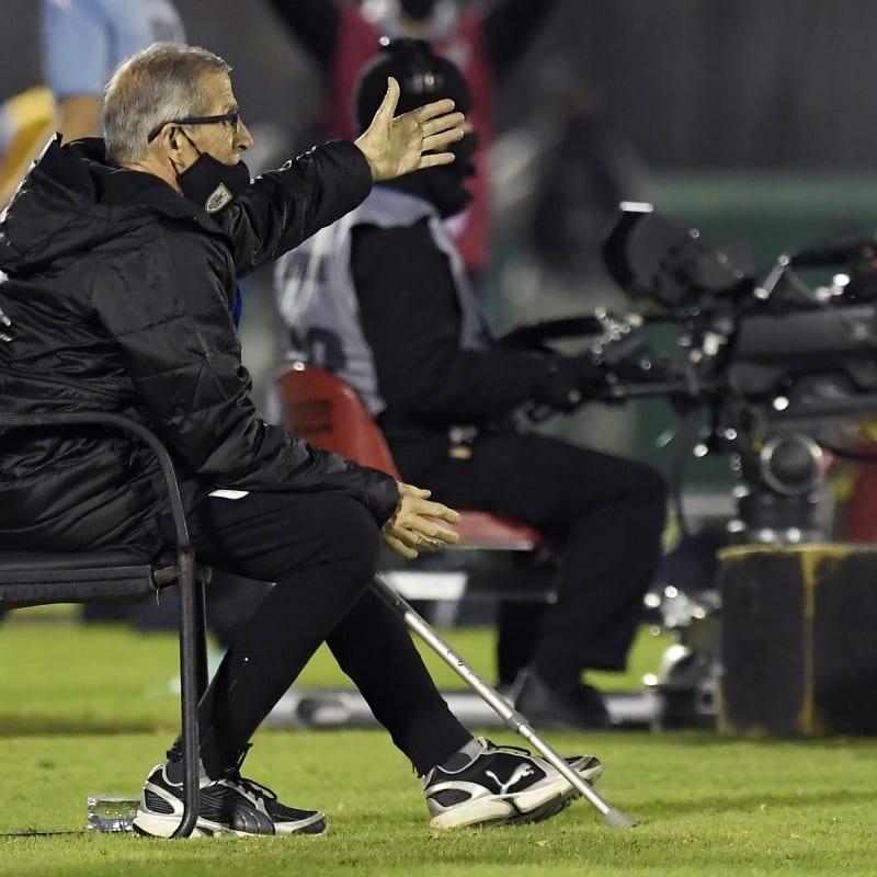 Head coach of Uruguay Oscar Tabárez gestures
