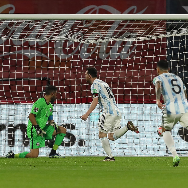 Lionel Messi of Argentina celebrates after scoring the opening goal