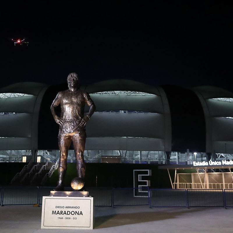Five-meters tall statue of late football legend Diego Maradona is unveiled at Estadio Unico Madre de Ciudades