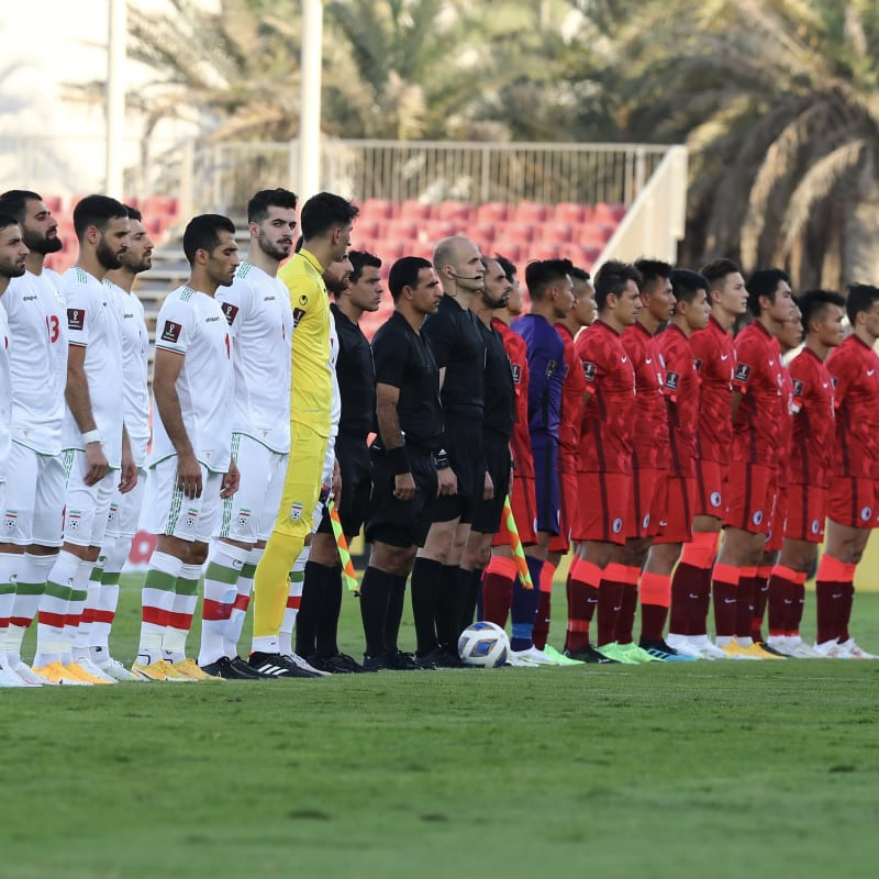IR Iran and Hong Kong line up before their World Cup qualifier