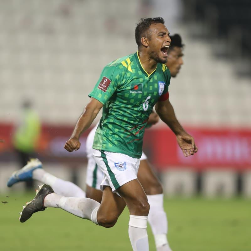 Jamal Bhuyan of Bangladesh celebrates Topu Barman's late equaliser against Afghanistan