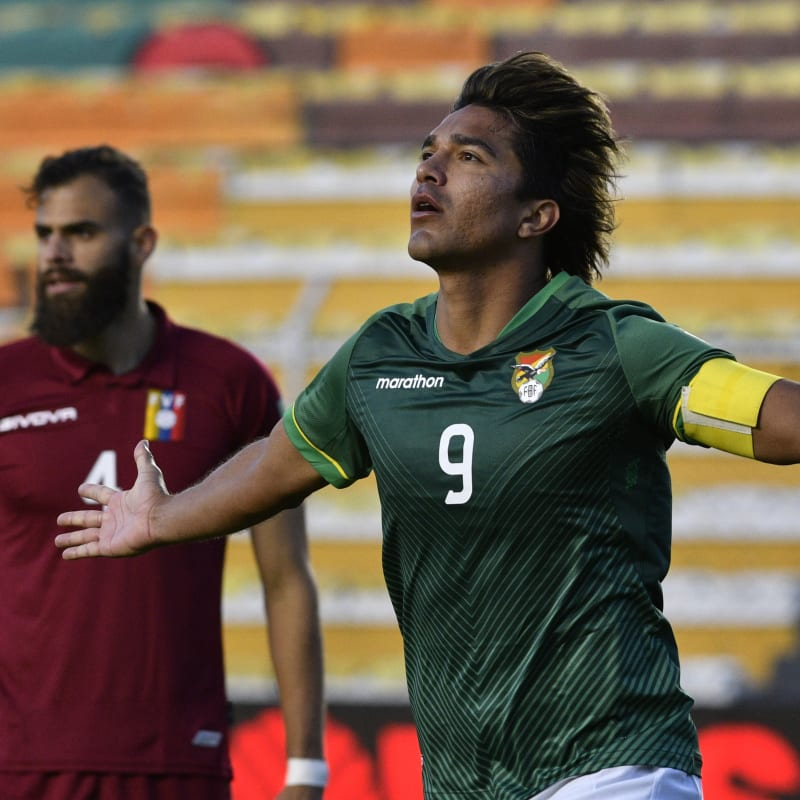 Marcelo Moreno Martins of Bolivia celebrates after scoring the third goal of his team