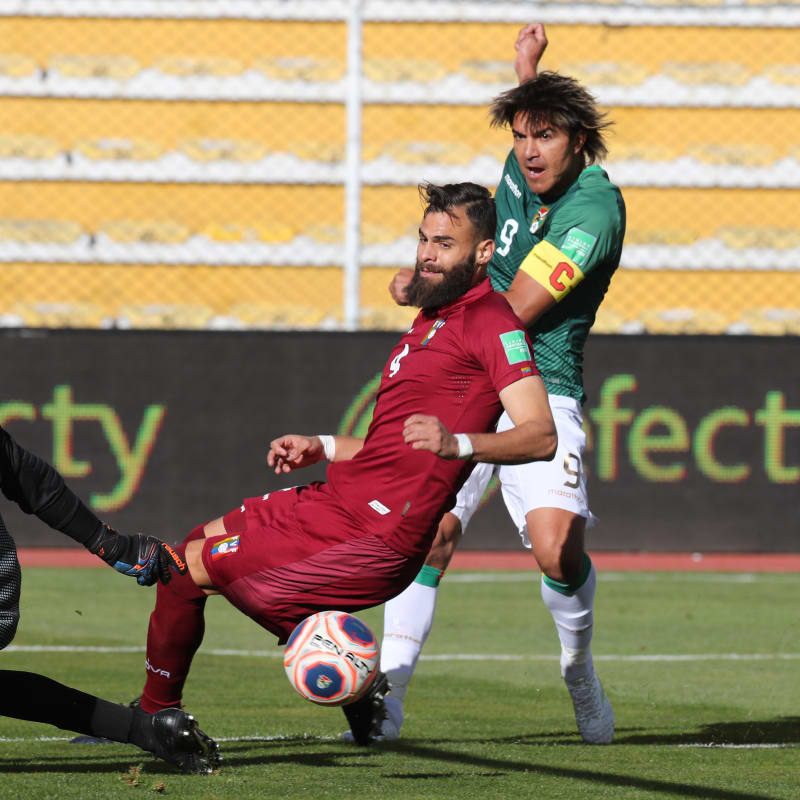 Marcelo Moreno Martins of Bolivia takes a shot during a match between Bolivia and Venezuela