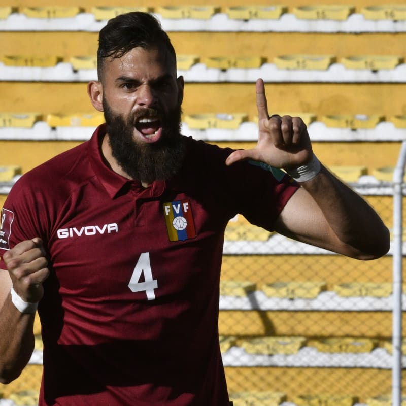 Jhon Chancellor of Venezuela celebrates after scoring the first goal of his team