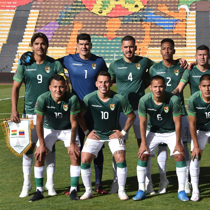 Players of Bolivia pose for a team picture before a match between Bolivia and Venezuela